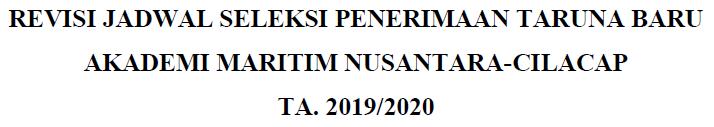 Revisi Jadwal dan Perlengkapan Wajib Inamanta 2019/2020